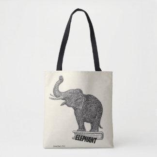 Bolso De Tela Dibujo blanco y negro del elefante, 1935