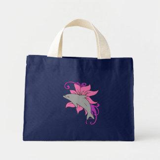 Bolso De Tela Diminuto Delfín al lado de un lirio
