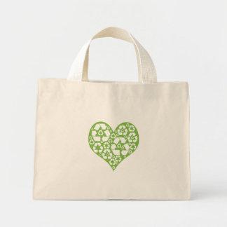 Bolso De Tela Diminuto El corazón verde recicla