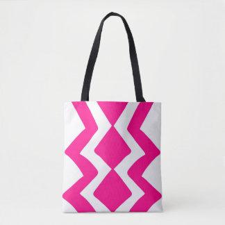 Bolso De Tela Diseño blanco rosado del zigzag