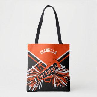 Bolso De Tela Diseño del naranja, negro y blanco de la animadora
