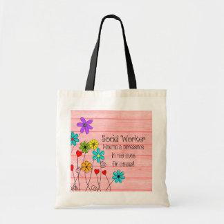 Bolso De Tela Diseño floral de la cita del asistente social