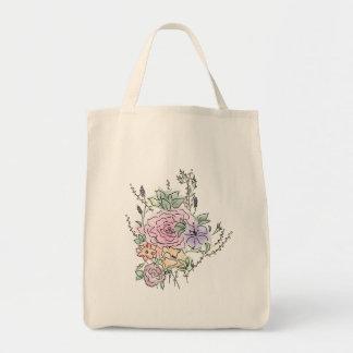 Bolso De Tela diseño floral del estilo de la acuarela