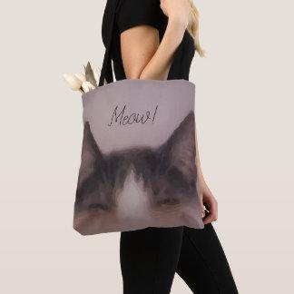 Bolso De Tela Diseño lindo de la pintura del gatito del maullido