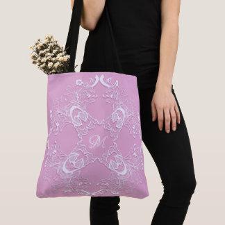 Bolso De Tela Diseño rosado retro floral del cordón