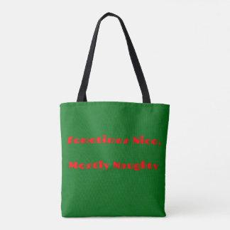 Bolso De Tela Diseño travieso del navidad verde rojo divertido