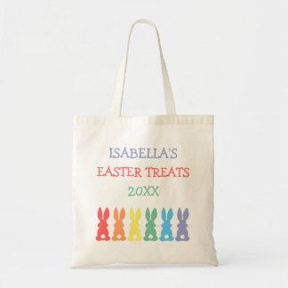 Bolso De Tela El arco iris Pascua personalizada los conejitos