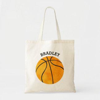 Bolso De Tela El baloncesto anaranjado personalizado de los