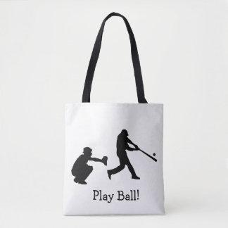 Bolso De Tela El béisbol blanco y negro de la bola del juego se