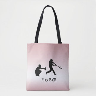 Bolso De Tela El béisbol rosado femenino de la bola del juego se