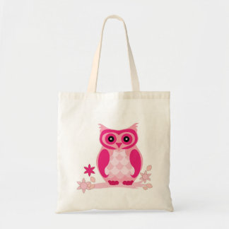 Bolso De Tela El búho rosado lindo en una rama personalizó la
