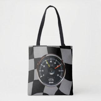 Bolso De Tela El competir con auto análogo del tacómetro del