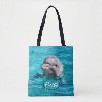 Bolso De Tela El delfín en agua azul personaliza