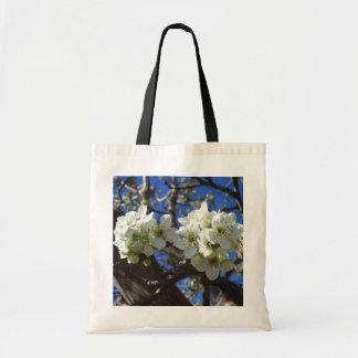 Bolso De Tela El flor blanco agrupa el peral floreciente de la
