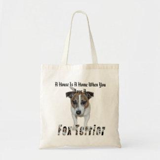 Bolso De Tela El fox terrier y una casa es un logotipo casero,