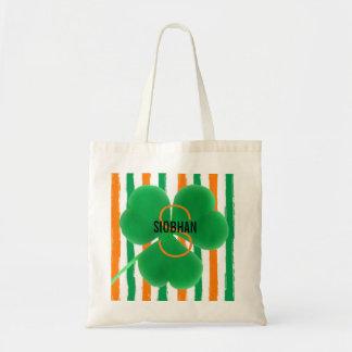 Bolso De Tela El irlandés del monograma colorea el trébol del