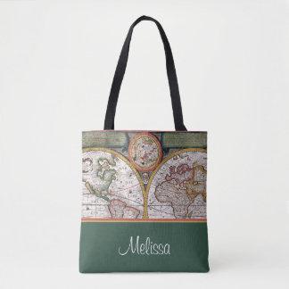 Bolso De Tela El mapa el   del vintage personalizó el verde del