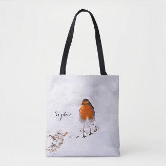 Bolso De Tela El pájaro lindo de encargo del petirrojo en nieve
