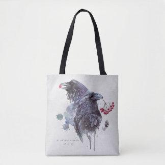 Bolso De Tela El par de acuarela abstracta de los cuervos