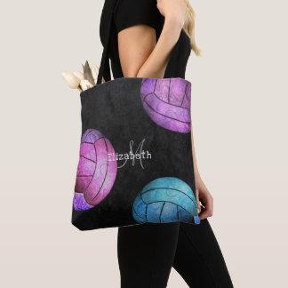 Bolso De Tela el voleibol elegante de las mujeres púrpuras de la