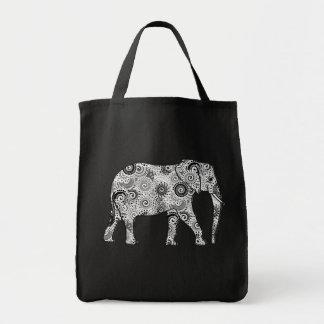 Bolso De Tela Elefante del remolino del fractal, gris, blanco y