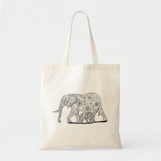 Bolso De Tela Elefantes florales
