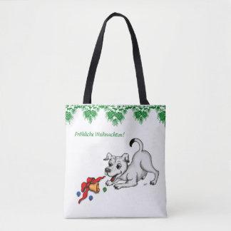 Bolso De Tela en alemán la navidad con cachorro campana y pelota