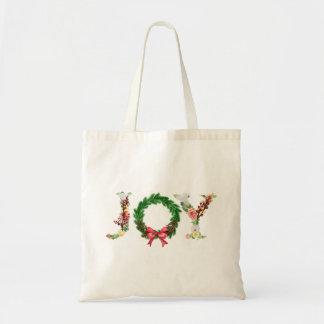 Bolso De Tela Escritura floral elegante simple de la alegría de