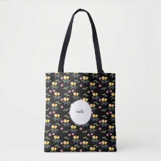 Bolso De Tela Estampado de flores con la etiqueta conocida de