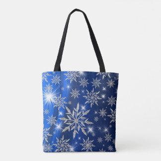 Bolso De Tela Estrellas azules del navidad con el cristal de