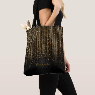 Bolso De Tela Estrellas de oro de la luz y diseño negro con el