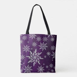 Bolso De Tela Estrellas púrpuras del navidad con el cristal de