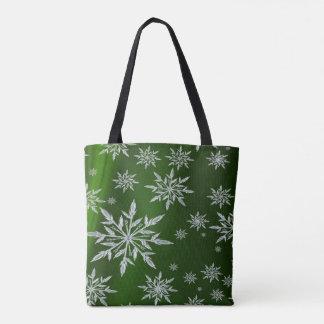 Bolso De Tela Estrellas verdes del navidad con el cristal de