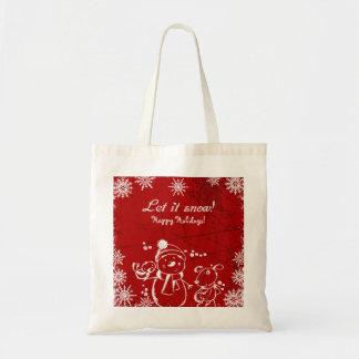Bolso De Tela Felices Navidad del ejemplo rojo y blanco