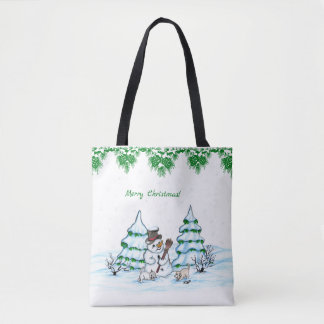Bolso De Tela ¡Felices Navidad! Muñeco de nieve con el gato y el