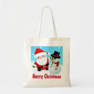 Bolso De Tela Felices Navidad, Santa y muñeco de nieve