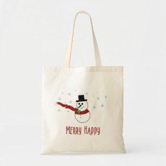 Bolso De Tela Feliz muñeco de nieve feliz con la bufanda roja