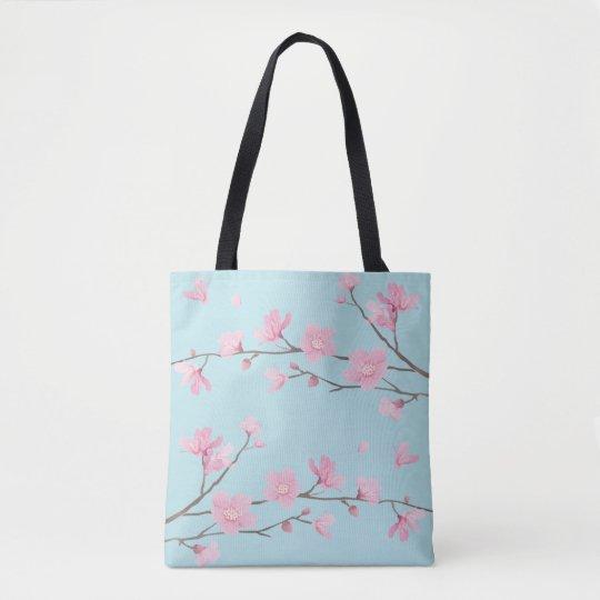 Bolso De Tela Flor de cerezo - azul de cielo