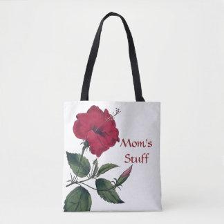 Bolso De Tela Flor roja en el estilo botánico