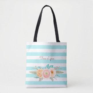 Bolso De Tela Floral de las rayas elegantes de la aguamarina y
