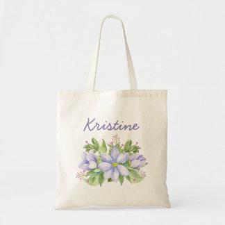 Bolso De Tela Floral púrpura de la acuarela soñadora