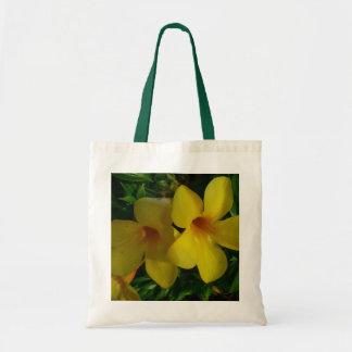 Bolso De Tela Floral tropical de las flores de trompeta de oro