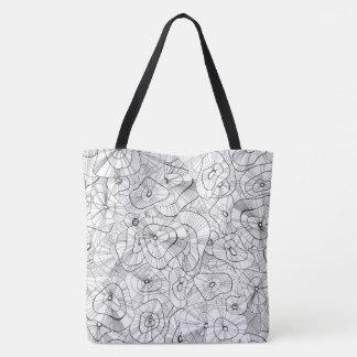 Bolso De Tela Flores blancas