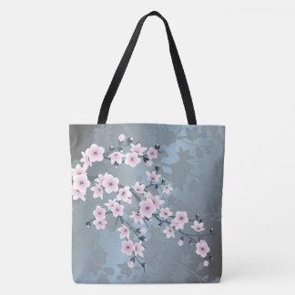 Bolso De Tela Flores de cerezo azules grisáceas rosadas oscuras