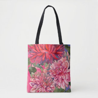 Bolso De Tela flores de las dalias