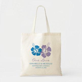 Bolso De Tela Flores del hibisco del azul real y de la lavanda