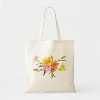 Bolso De Tela Flores florales del lirio - rosa, naranja, blanco