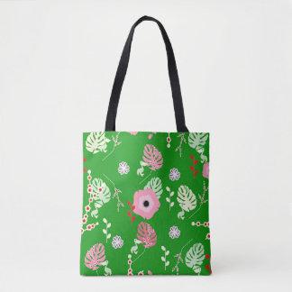 Bolso De Tela Flores, hojas y pequeños pelícanos