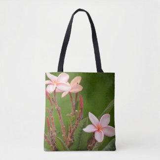 Bolso De Tela Flores rosadas con un fondo verde