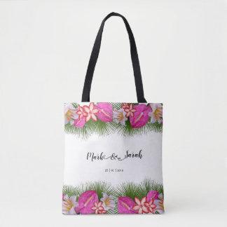 Bolso De Tela Flores tropicales y caligrafía de las hojas de